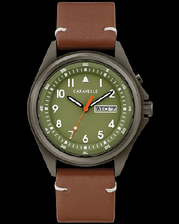 Caravelle watch by Bulova has a backlit feature that illuminates the olive green dial and is activated with a pusher at 2 o'clock. Genmetal stainless steel case with a full Arabic dial and contrast second hand also features a military time inner trac