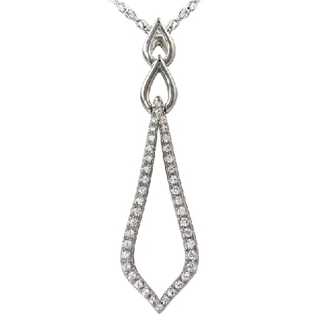 14 karat white gold pendant; long open diamond-set shape with 2 polished teardrops above; 1/4cttw diamond G-H/I1; on singapore chain with lobster claw