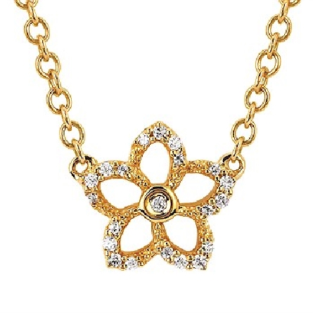 10 karat yellow gold adjustable length split cable chain necklace with 5-petaled flower center; 21 diamonds = .08cttw