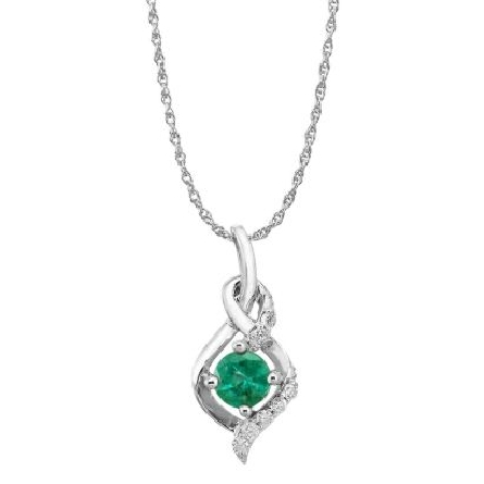 14 karat white gold pendant; round prong set emerald (.34 carat)in mounting with double twist; diamonds above and below (.063cttw); rope chain