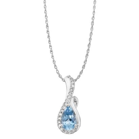 14 karat white gold pendant; pear shaped aquamarine (.90 carat) with diamonds curving under and around on one side (.114cttw H-I/SI2); rope chain