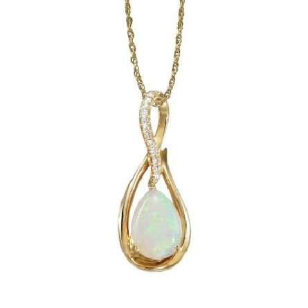 14 karat yellow gold pendant; pear shaped 10x7mm opal inside twisting frame with a curve of damonds above (.07cttw H-I/SI2); rope chain