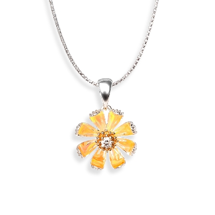 sterling silver pendant; daisy appears yellow due to reflection of lab opal around center 14 karat yellow gold setting which holds a .03ct diamond; 18 inch cable chain with lobster claw