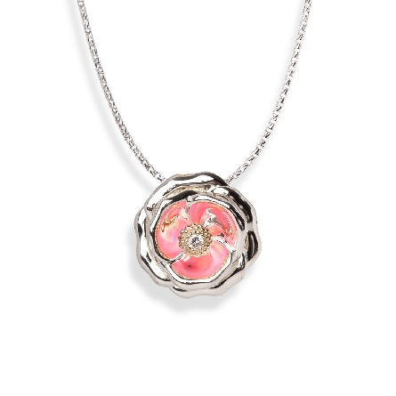 sterling silver pendant; rose appears pink due to reflection of lab opal around center 14 karat yellow gold setting which holds a .03ct diamond; 18 inch cable chain with lobster claw
