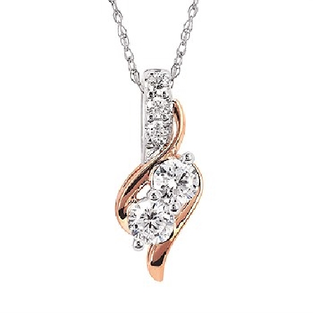 14 karat two tone pendant; 2 stones on a diagonal with polished swirls around; three diamonds form front of bail; all settings in white gold; swirls in rose gold; .50cttw GH/I1; on 18 inch rope chain with lobster claw