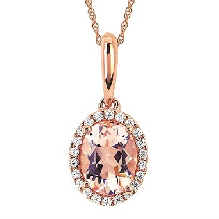 14 karat rose gold pendant; oval morganite with diamond halo (.11cttw GH/I1); solid bail; rope chain with spring ring