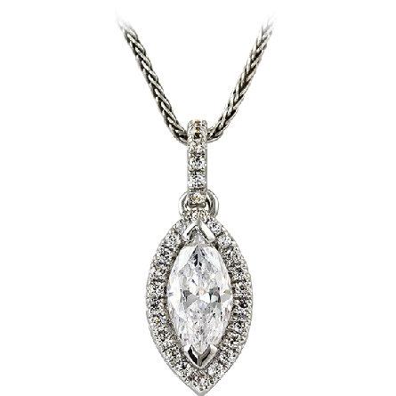14 karat white gold diamond pendant; center .77 HI/VS2 marquise with halo; diamonds on straight line bail; 1/7cttw trim GH/SI; on 18 inch wheat chain with lobster claw