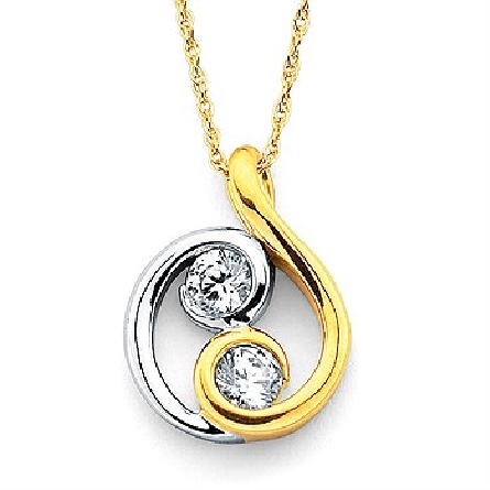 14 karat two tone white and yellow gold pendant; swirls with bezel set diamonds; 2=.10cttw; on 18 inch yellow gold rope chain with spring ring