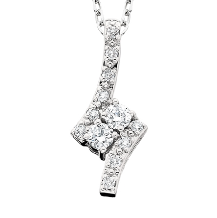 14 karat white gold   side by side   pendant; two angled diamonds with  smaller diamonds in bypasses top and bottom; cable chain with spring ring