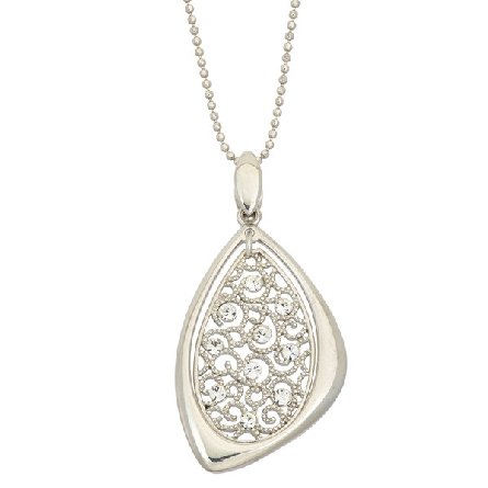sterling silver pendant; oval filigree with crystals; triangular frame on bead chain; Jayden Star JS1922/P/W