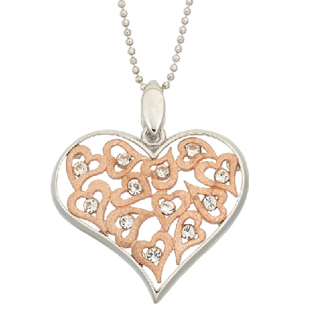 sterling silver pendant; multiple rose gold plated hearts with crystals; silver heart-shaped frame; beaded chain; Jayden Star JS1925/RW