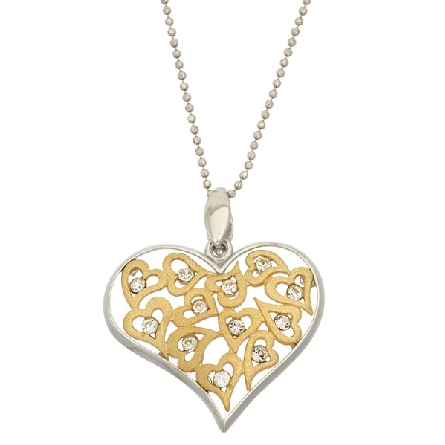 sterling silver pendant; multiple gold plated hearts with crystals; silver heart-shaped frame; beaded chain; Jayden Star JS1925/YW