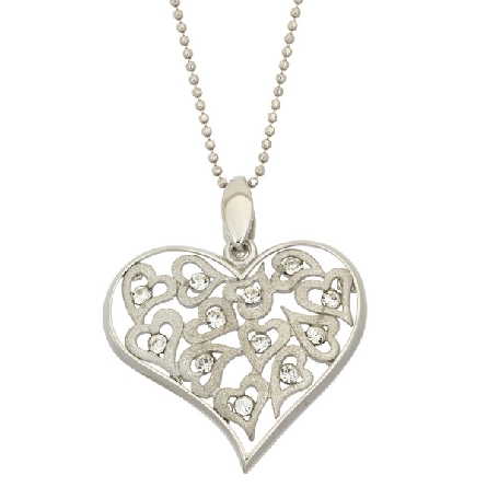 sterling silver pendant; multiple hearts with crystals; silver heart-shaped frame; beaded chain; Jayden Star JS1925/W