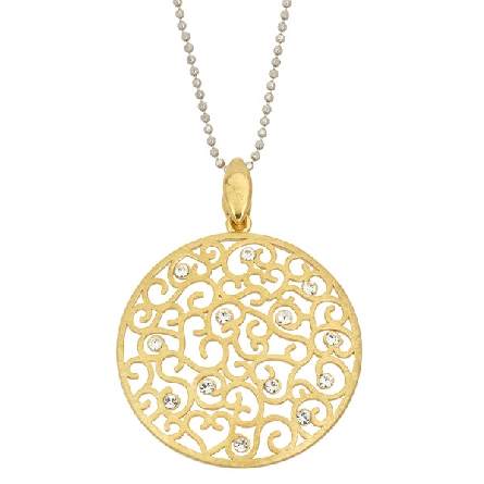 sterling silver pendant; gold plated round filigree disc with crystals; bead chain; Jayden Star JS1928/P/Y