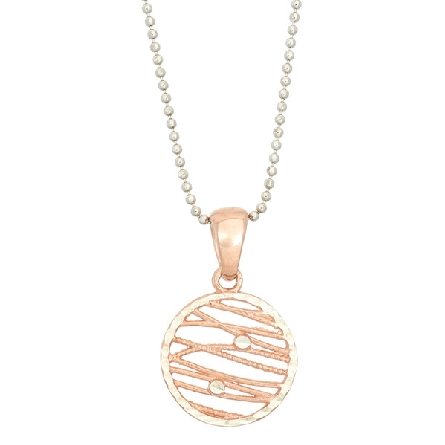 sterling silver pendant on bead chain; round criscross rose gold plated wires; faceted silver frame