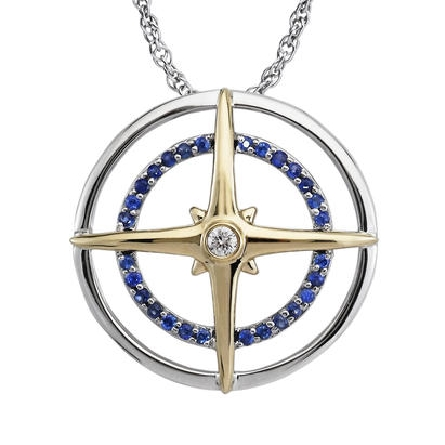 14 karat two tone compass pendant; white gold polished outer circle and bead-set inner circle with blue sapphires; .15cttw; cardinal points represented in yellow gold; .03 carat diamond in center; on diamond cut cable chain with lobster claw
