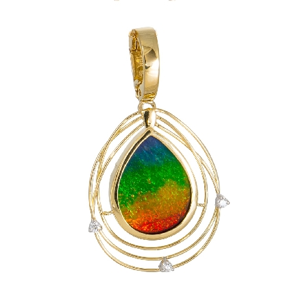 18 karat yellow gold pendant in the award-winning and limited edition   Solara   style with a pear-shaped AA grade ammolite surrounded by an open wire framework with 3=.047 carat diamond; enhancer bail. Made in Canada. Colors vary from those in image.