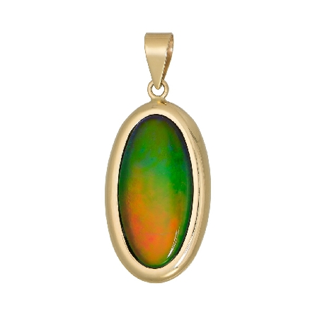 14 karat yellow gold pendant; long oval bezel set   A   grade ammolite with solid V bail. Made in Canada; chain available separately. Colors vary from those in image.