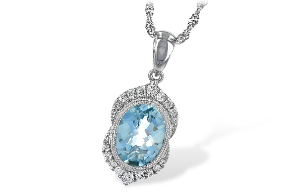 14 karat white gold pendant; oval aquamarine (1.40 carat) with milgrain bazel; diamonds above and below in vintage pattern (.14cttw); rope chain