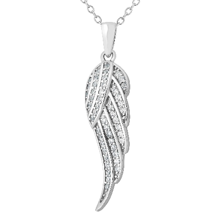 sterling silver pendant; angel wing set with cubic zirconia; rope chain