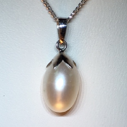 14 karat white gold pendant;  teardrop shaped freshwater pearl with pearl cap; on 18 inch wheat chain with spring ring