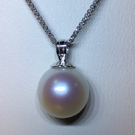 14 karat white gold pendant; 8.5-9mm freshwater cultured pearl with fluted pearl cap; on 18 inch wheat chain with spring ring