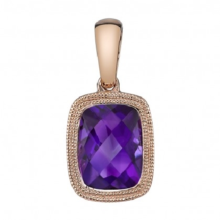 14 karat rose gold pendant with 8x6mm checkerboard cushion-cut amethyst in milgrain bezel; filigree underbridging; approx. 1.14cttw; on 18 inch diamond-cut cable chain with lobster claw