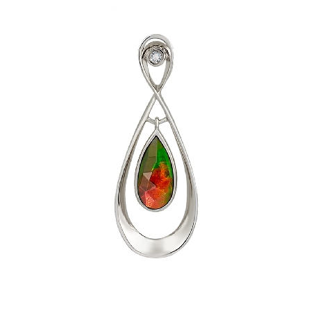 sterling silver pendant; pear shape   standard   grade ammolite with faceted top is bezel set; dangles inside an open frame with a white sapphire at top. Chain available separately.