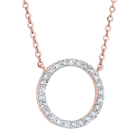 sterling silver split chain necklace; center piece is a circle set with cubic zirconia