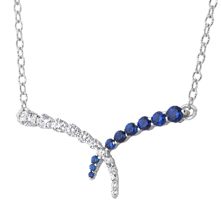 sterling silver split chain necklace; center piece is overlapping bars; one set with clear cubic zirconia; the other set with dark blue cubic zirconia