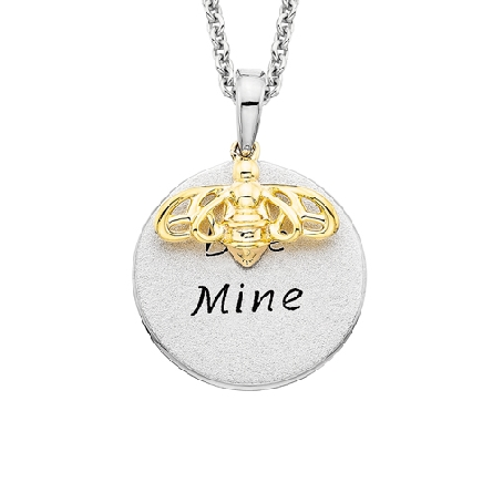 sterling silver disc pendant engraved with the words BEE MINE; with a yellow gold overlay bee design suspended from an adjustable length cable link chain