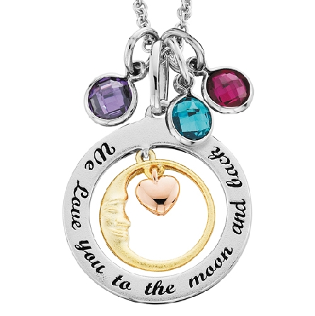 sterling silver pendant; outer frame with the words   We love you to the moon and back.   inner crescent moon overlaid in yellow gold; center dangling heart overlaid in rose gold; adjustable length cable chain. Additional charms shown are available sep
