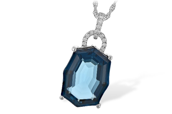 14 karat white gold pendant; sculpture cut London blue topaz (11.75 carat); flilgree underbezel; diamond loop at top and diamond bail (.10cttw); on rope chain