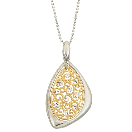 sterling silver two tone pendant; gold plated oval filigree with crystals; silver triangular frame on bead chain; Jayden Star JS1922/P/YW