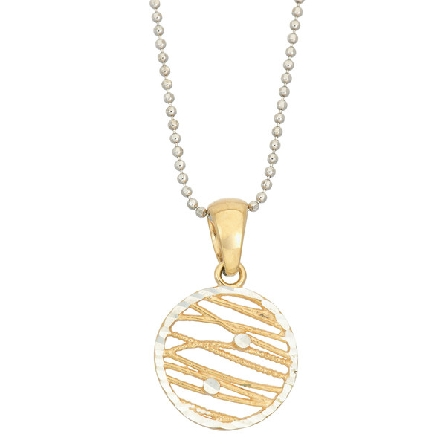 sterling silver pendant on bead chain; round criscross gold plated wires; faceted silver frame