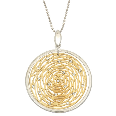 sterling silver pendant; gold plate center rose design with Swarovski crystals; white polished outer frame; bead chain