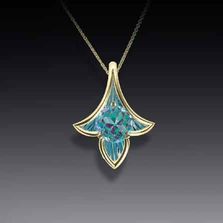 14 karat white gold pendant; 8mm DavinChi cut blue topaz; 3 petal mounting with textured reflector; on cable chain. Pictured in yellow gold.