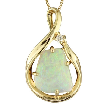 14 karat yellow gold pendant; open swirl with freeform shape opal in center; .04 carat diamond (G/SI1) near top. Opal weight is 2.25 carat. Chain available separately.