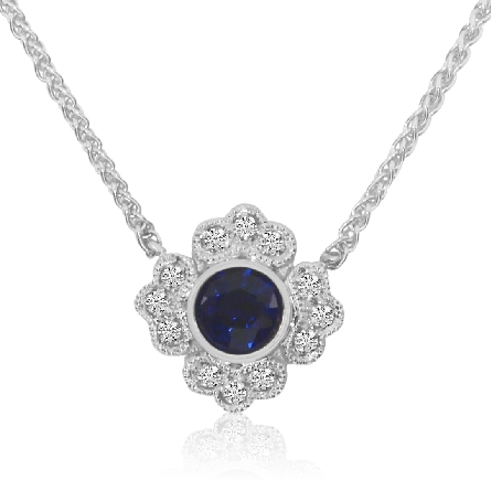 14 karat white gold split chain necklace with milgrain trim; centerpiece is a .25 carat round blue sapphire surrounded by vintage-look diamond panels; .07cttw