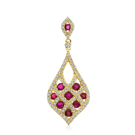 14 karat yellow gold pendant; round rubies set between a lattice of diamonds; ruby & diamond bail; on diamond cut cable chain with lobster claw
