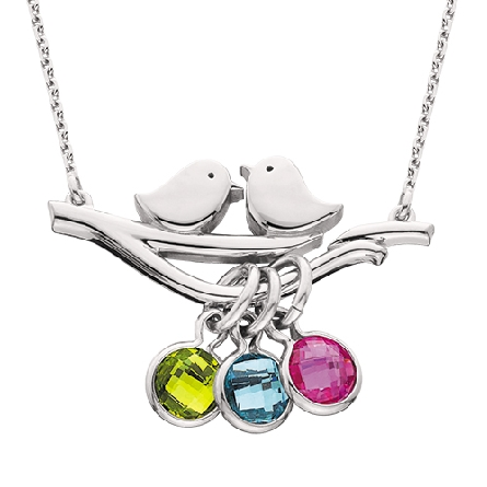 sterling silver split chain necklace with two birds on a branch. Birthstone charms available separately.