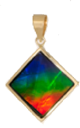 14 karat yellow gold pendant; square on point ammolite with faceted top; solid hinged bail
