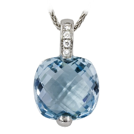 14 karat white gold pendant with a cushion checkerboard cut blue topaz below a diamond-set bail (.03cttw GH/SI2-3); on a wheat chain with lobster claw