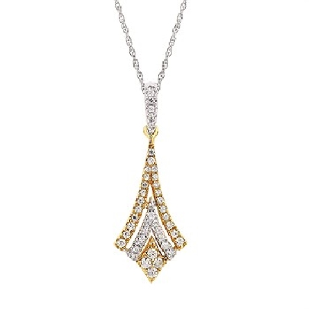 14 karat two-tone pendant; nested chevrons alternating yellow and white; all bead-set with diamonds; hinged white diamond bail; on 18 inch white fine rope chain with spring ring