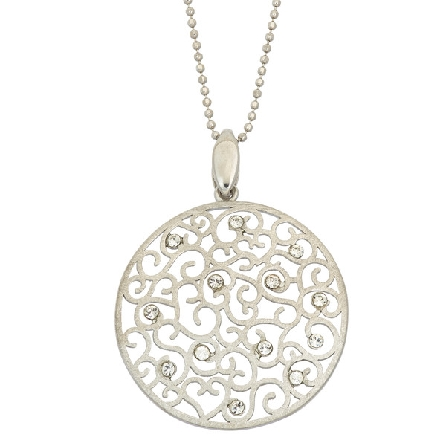 sterling silver pendant; matte finish heart filigree on round disc with crystal accents; on bead chain