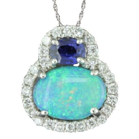 14 karat white gold pendant; oval Australian opal set east-west with a round sapphire above; all outlined with diamonds (.15cttw GH/SI1); on box chain with lobster claw