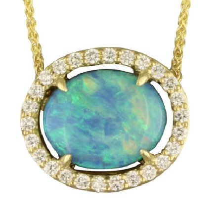 14 karat yellow gold split chain necklace with oval Australian opal set east-west (1.35ct; diamond halo (.20cttw GH/SI1); wheat chain with lobster claw