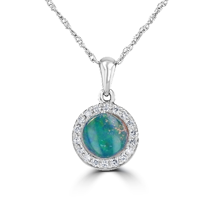 14 karat white gold pendant; round opal center with diamond halo (.10cttw); on box chain with lobster claw