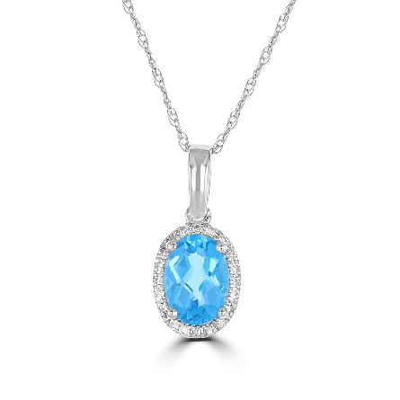 14 karat white gold pendant with oval checkerboard-cut blue topaz center and diamond halo (.80ct topaz; .06cttw diamond) on box chain with lobster claw