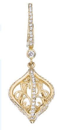 14 karat yellow gold swivel cage pendant with filigree inside; rows of diamonds outside and on bail; on wheat chain with lobster claw